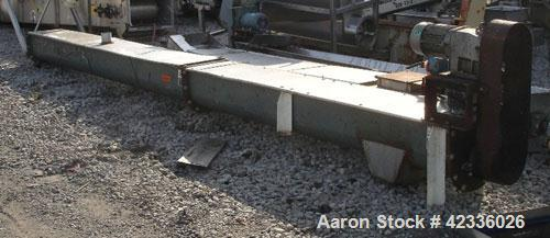 "Used- Screw Conveyor, Carbon Steel. Approximately 12"" diameter x 21' long. 12"" Piched flight. 14"" x 14"" Discharge. 3 hp, 330..."
