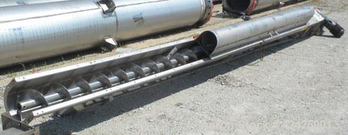 Used- Conveying Engineering Screw Conveyor, 304 Stainless Steel. 9'' Diameter x 360'' long x 4-1/2'' pitch screw, (2) sectio...