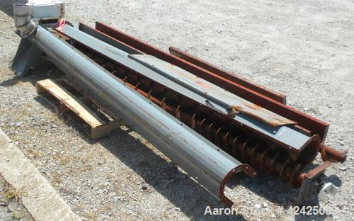 Used- Screw Conveyor, Carbon Steel. 6'' Diameter x 420'' long screw. Trough 7'' wide x 8'' deep with top cover, (4) sections...