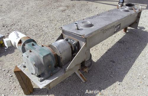 Used- Conveying Engineering Screw Conveyor, 304 Stainless Steel. 9'' Diameter x 60'' long x 5'' pitch screw, 10'' wide x 10'...