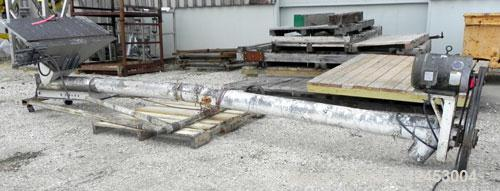"Used- Tubular Incline Screw Conveyor, 304 Stainless Steel. 6"" Diameter x 168'' long x 3"" pitch screw. Bottom inlet with hopp..."
