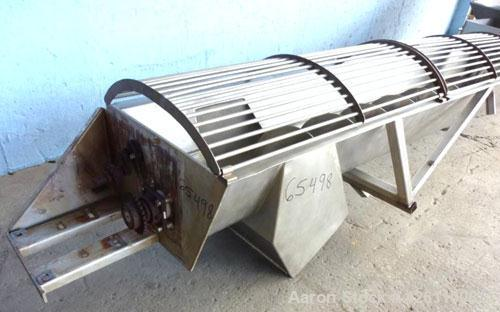 "Used- Screw Conveyor, Stainless Steel. 12"" Diameter X 216"" long x approximate 6"" pitch. Trough 15"" wide. Bottom feed hopper ..."