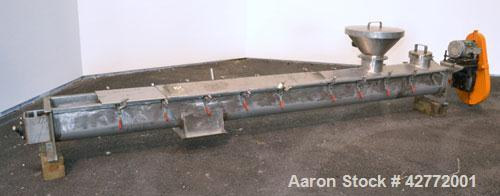 Used- Screw Conveyor, 304 Stainless Steel, Horizontal. Approximate 9'' diameter x 141'' long x 4-1/2'' pitch screw. Trough 1...
