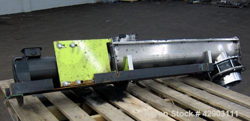"Used- Screw Conveyor, 304 Stainless Steel. Approximate 5"" diameter x 38"" long. Top cover. Top end feed, bottom end outlet. D..."