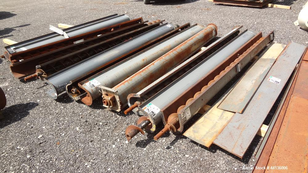"Used- Screw Conveyor Parts, Carbon Steel, Consisting Of: (12) Approximately 6"" diameter x 10"" long screws, on approximate 3""..."