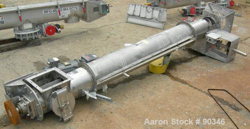 """Used- Screw Conveyor, 316 stainless steel, vertical section.9"""" diameter screw x approximately 98"""" long x 2"""" pitch.Tubular tr..."""