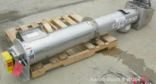 "Used-USED: Dalex Screw Conveyor, 304 stainless steel.9"" diameter screw x approximately 74 1/2"" long x 4"" pitch.Tubular troug..."