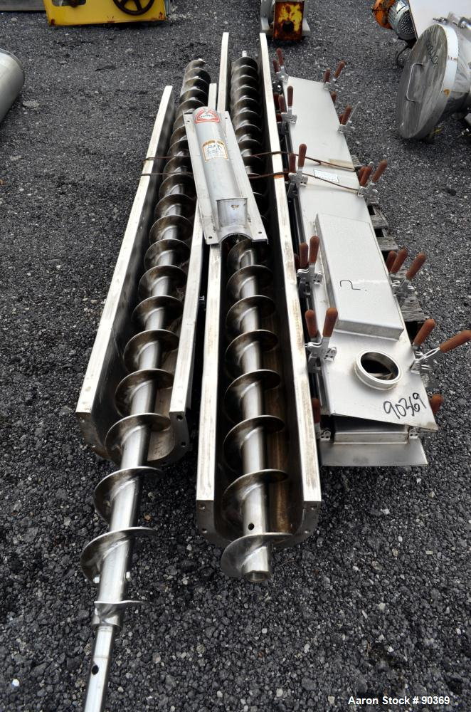 "Used- Screw Conveyor Parts, 304 Stainless Steel. Consisting of: (3) 118"" long, (1) 110"" long, (1) 32"" long, 6"" diameter x 3""..."