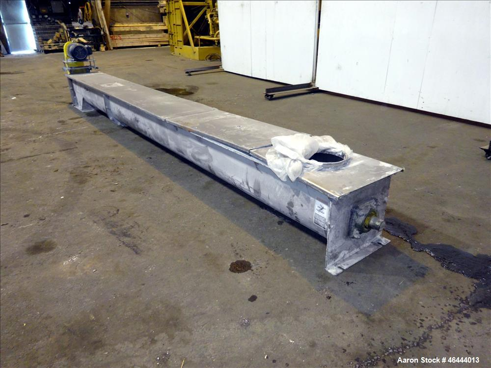 "Used- Nord-Sen Metal Industries Screw Conveyor, Stainless Steel. Approximate 12"" diameter x 180"" long x 6"" pitch screw. Driv..."