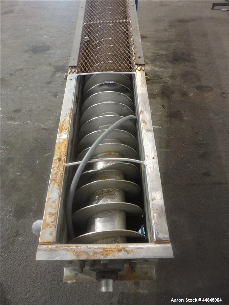 """Used- Ohio Inclined Screw Conveyor, 304 Stainless Steel. Approximate 12"""" diameter x 239"""" long x 3-1/2"""" pitch cored screw, dr..."""