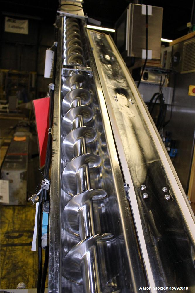 "Used- S. Howes Split Tube Screw Conveyor, Stainless Steel. 5"" diameter x 167"" long screw. Driven by 1 hp, 208-230/460, 1740 ..."