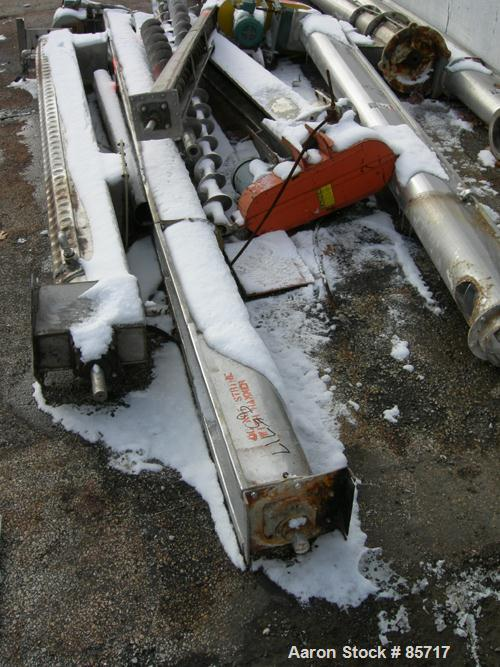 "Used- Screw Conveyor Corporation Screw Conveyor, 304 stainless steel, horizontal. 6"" diameter x 14' long, 7"" pitch. Driven b..."