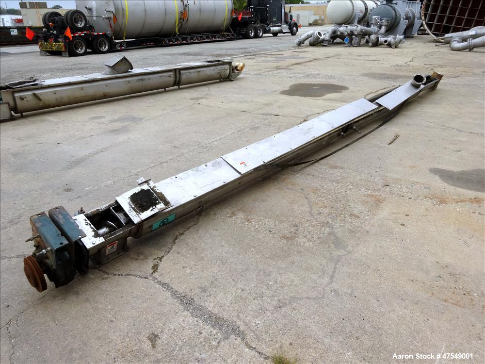 Used- Thomas Conveyor Company Screw Conveyor, 304 Stainless Steel, Horizontal.