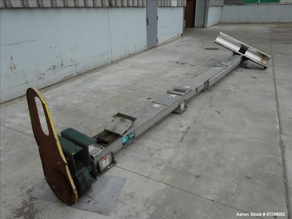 Used- Thomas Conveyor Company Screw Conveyor, 304 Stainless Steel, Horizontal.