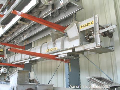 """USED: 9"""" Diameter x 12' long jacketed stainless steel screw conveyor.Inclined design. Drive on discharge end. Three inlets. ..."""