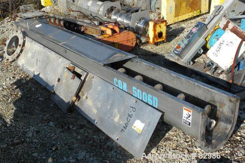 "Used- Thomas Conveyor Screw Conveyor, 316 Stainless Steel, Horizontal. 8"" diameter x 213"" long x 4"" pitch screw. 10"" end top..."