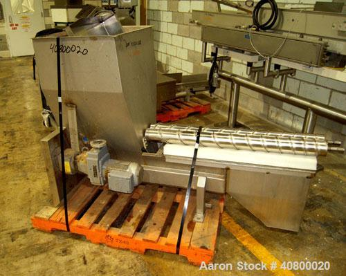"Used- Vanmark Potato Feeder. (2) Approximate 3 1/2"" diameter x 42"" long side-by-side 316 stainless steel screws. Top feed wi..."