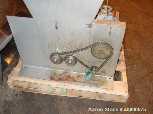Used- Vanmark Potato Feeder. (2) Approximate 3 1/2'' diameter x 42'' long side-by-side 316 stainless steel screws. Top feed ...