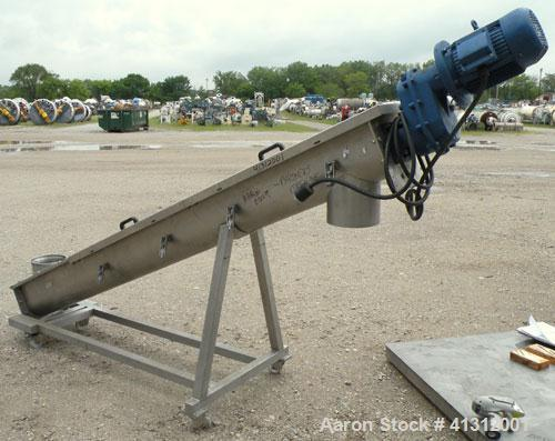 """Used- Wam Group Inclined Screw Conveyor, Type CXU2L020027511, 304 Stainless Steel. Approximate 8"""" diameter x 106"""" long x 4"""" ..."""