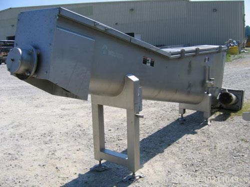 "Used-15"" Diameter X 13'-6"" Long Wolfking Inclined Stainless Steel Food Grade Screw Conveyor, Type 2170. 7.5 hp motor equippe..."