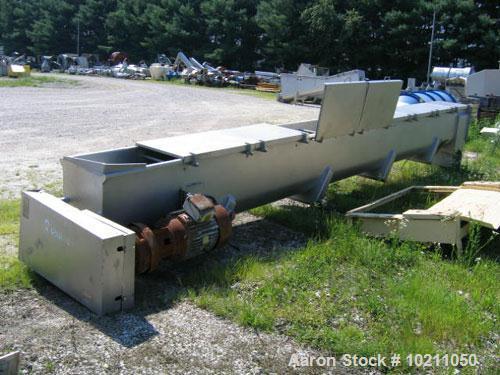 """Used-18"""" Diameter X 24' Long Wolfking Inclined Stainless Steel Food Grade Screw Conveyor, Type 2180. 25 hp Baldor motor, 176..."""