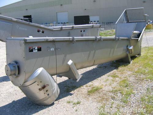 """Used-18"""" Diameter X 16'-6"""" Long Wolfking Inclined Stainless Steel Food Grade Screw Conveyor, Type 2221. 20 hp Baldor motor, ..."""
