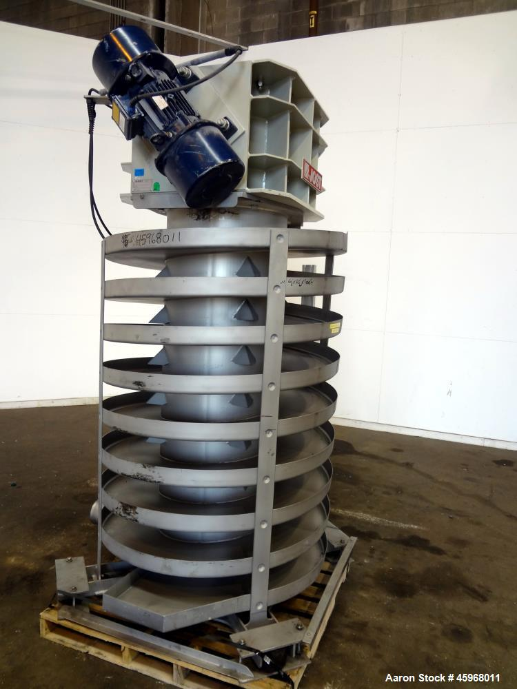 Used- Jost Spiral Cooling Conveyor, Type WUF 600/1200, 304 Stainless Steel