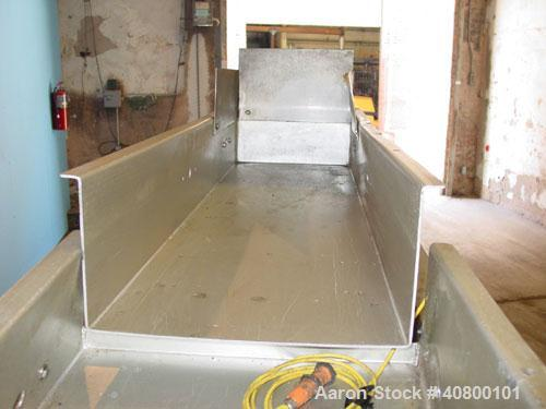 "Used- Allen 2 Section Vibratory Conveyor, stainless steel. (1) 13 1/2"" wide x 45"" long x 6"" deep conveyor, model D25593, typ..."