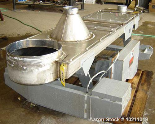 """Used-24"""" Wide x 8'3"""" Long x 6"""" High Stainless Carrier Vibrating Conveyor, Model IM2460S9. 24"""" wide x 8'3"""" long x 6"""" deep tra..."""