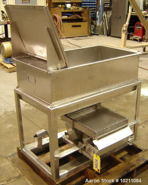 "Used-15"" Wide X 18"" Stainless Steel Screener Feeder, 7 Cubic Foot Stainless Steel Feeder Hopper and Eriez Magnetics Vibrator..."