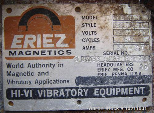 "Used-24"" Wide x 51"" Long Eriez Electro-Mechanical Vibrating Feeder, Model HV244.8, Style 9607873. 230/460 volt, 60 hz, 5.4/2..."