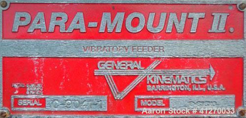 Used- General Kinematics Para-Mount II Vibratory Feeder, Model B-616X6, 304 Stainless Steel. 16'' wide x 72'' long x 5'' dee...