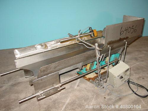 Used- H Tech Vibratory Conveyor, stainless steel. 16'' wide x 42'' long x 3'' high sides vibrating pan. Syntron speed contro...