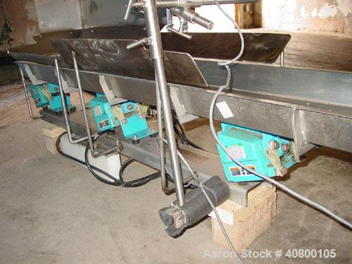 Used- H Tech Vibratory Conveyor, Stainless Steel. 10-1/2'' Wide x 76'' long x 3'' high sides vibrating pan. Syntron speed co...
