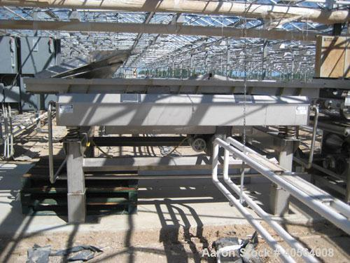 Used- Lyco model 9000 vibratory conveyor 40 inches wide x 10 feet long, last used for pouches.