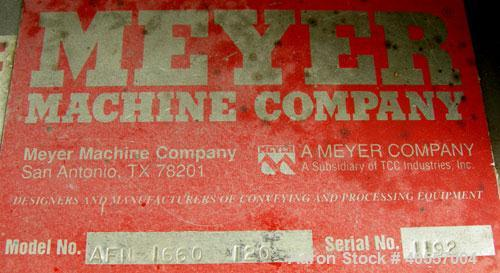 "Used- Meyer Machine vibratory conveyor, model AFN-1660-120, 304 stainless steel. Pan 16"" wide x 60"" long x 6"" tall sides. En..."