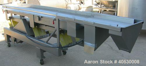 "Used- Horizontal vibratory conveyor/ screener, 304 stainless steel. Approximately 17"" wide x 133' long, double clamp in deck..."