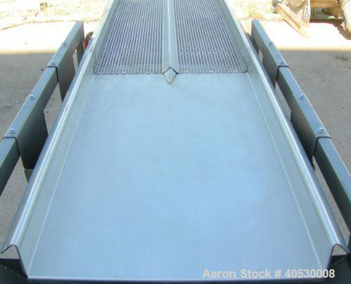 """Used- Horizontal vibratory conveyor/ screener, 304 stainless steel. Approximately 17"""" wide x 133' long, double clamp in deck..."""