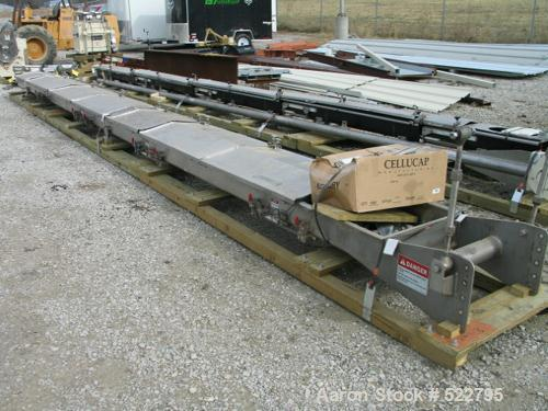 """USED: 24"""" wide x 30' long x 8"""" deep vibrating conveyor, """"slip-stick""""design, manufactured by Triple S Dynamics. 304 stainless..."""