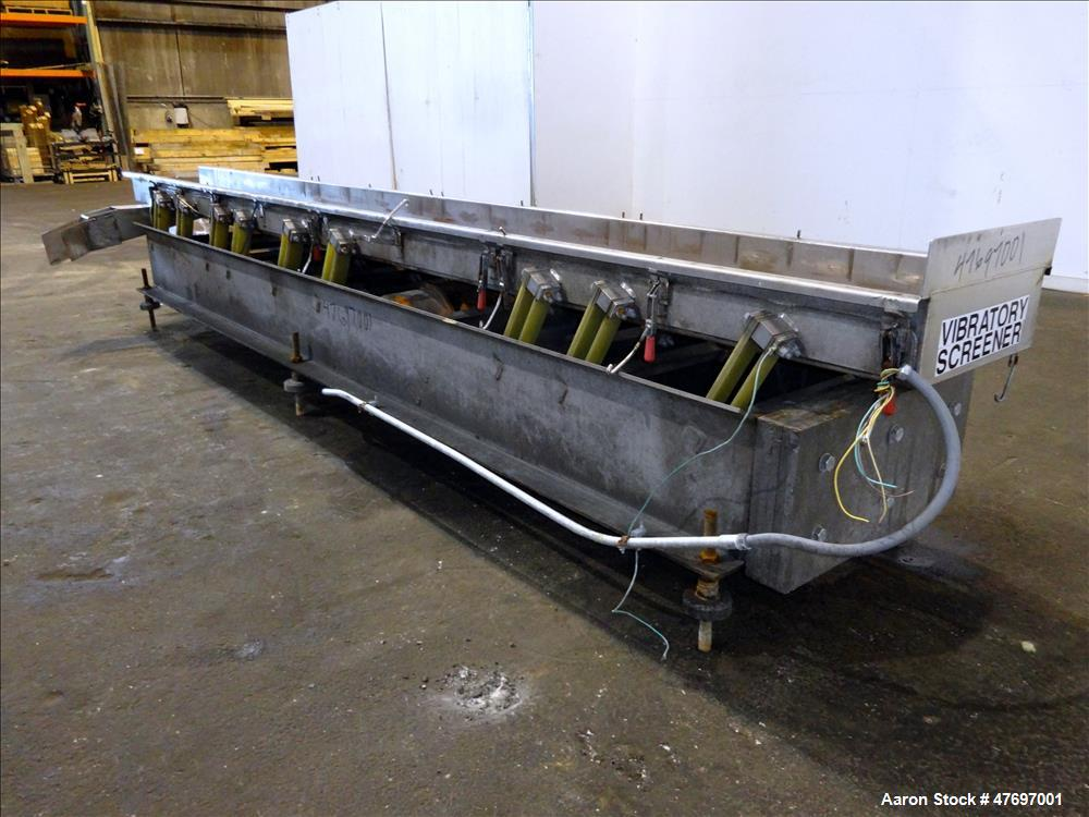 """Used- Triple S Dynamics Vibrating Conveyor, Model RLEB-18, 304 Stainless Steel. Approximate 18"""" wide x 166"""" long x 6"""" deep p..."""