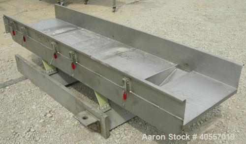 "Used-Cardwell vibratory conveyor, model VC-1659, 304 stainless steel. 24"" wide x 131"" long x 6 3/4"" tall sides. 6"" end botto..."