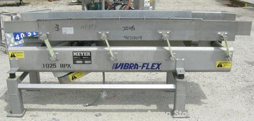 "Used- Meyer Machine Vibraflex II vibratory conveyor, model VF11-18-8, 304 stainless steel. 18"" wide x 92"" long x 4 1/2"" tall..."