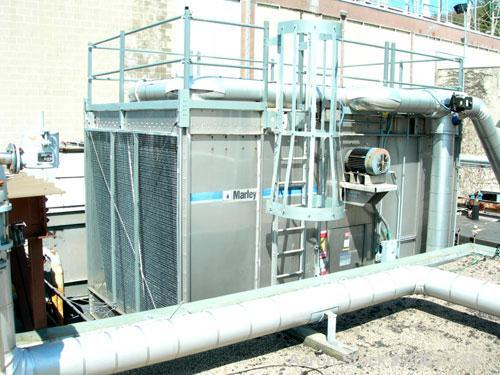 Used-Used: Marley Cooling Tower, Model NC5211SM, Stainless steel. Approximately 8' diameter fan, driven by a 20hp,3/60/230/4...