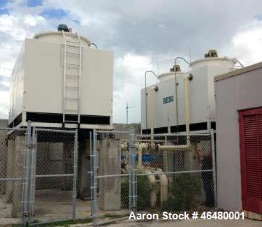 Used- Berg Cooling Tower, Model BT-29624. Capacity 160 tons, fiberglass casing. 460 Volt, 3 Phase, 60 Hz, 26 amps, (2) 15 HP.