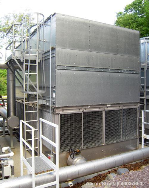 Used- Evapco Cooling Tower, model AT-112-620-S,728 nominal tons. Galvanized top section, 304 stainless steel pan/strainers.