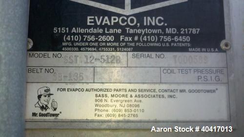 Used-Evapco Cooling Tower, Model SST 12-512B, 40 ton.  Built in 2000.  Stainless steel, fiberglass panels.