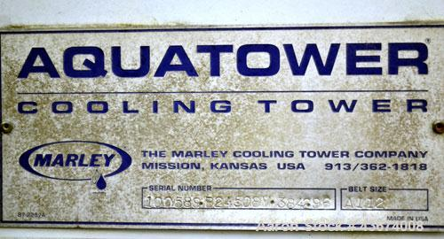 Used- Marley Series 3800 Aquatower Single Cell Cooling Tower, Model 3842, Approximately 60 Nominal Tons. Fiberglass housing....