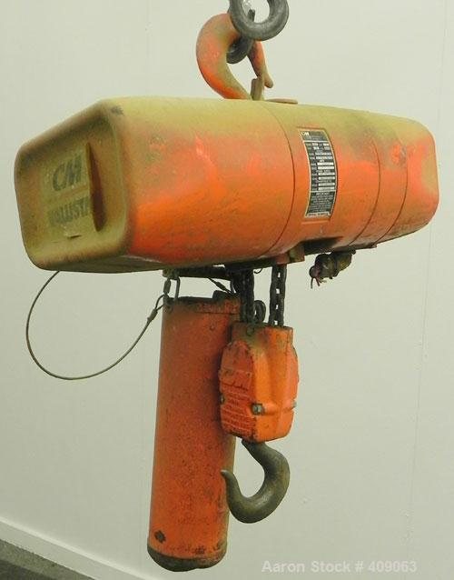 Used- CM (Columbus McKinnon) Valustar 2 Ton Electric Chain Hoist, Model WR.  8 Feet per minute, 10' lift height, headroom 22...