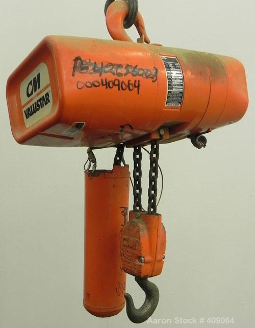 Used- CM (Columbus McKinnon) Valustar 2 Ton Electric Chain Hoist, Model WR.  8 Feet per minute, 10' lift height, headroom 22...