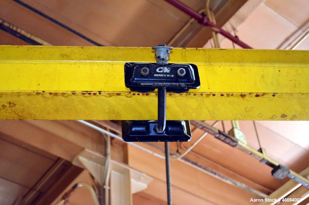 Used- Floor Mounted Jib Crane Frame Only, Carbon Steel. Approximate 360 degree swing, 9' span with a CM approximate 1/4 ton ...